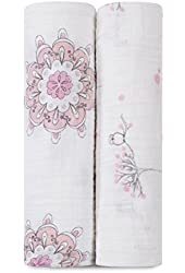 aden + anais 2 Count 100% Cotton Muslin Swaddle Blanket, For The Birds