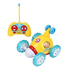 Remote Control Car Cartoon Stunt Dump Truck Radio Control Toy for Toddlers by Luba San,Yellow