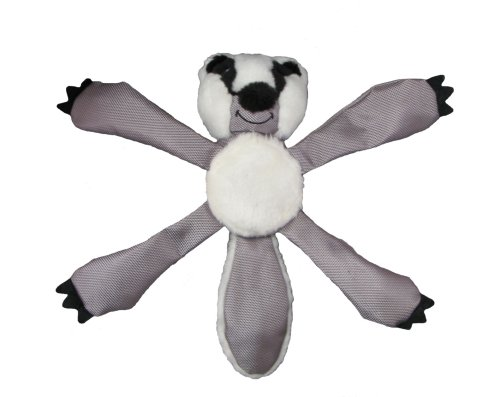 Kyjen Deluxe Squeaky Squigglers Dog Toy with Ball, Badger