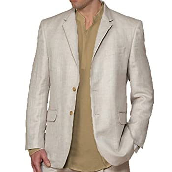 Natural color elegant linen blazer by cubavera