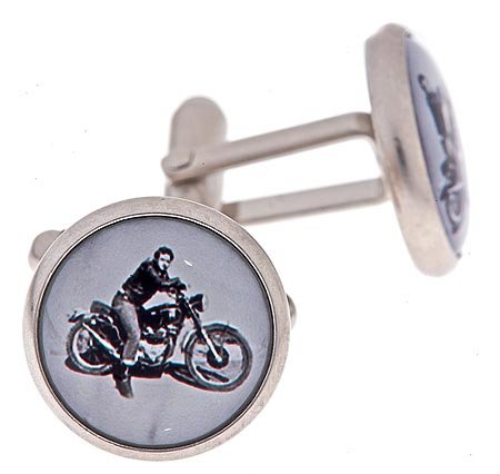 JJ Weston brushed or matt finish silver plated cufflinks with a black and white image of a 1950's biker with presentation box. Made in the U.S.A