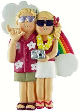 Blonde & Blonde Vacation Couple Christmas Ornament