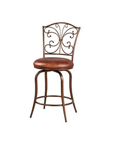 Linon Home Décor Butterfly Back Counter Stool, Antique Gold