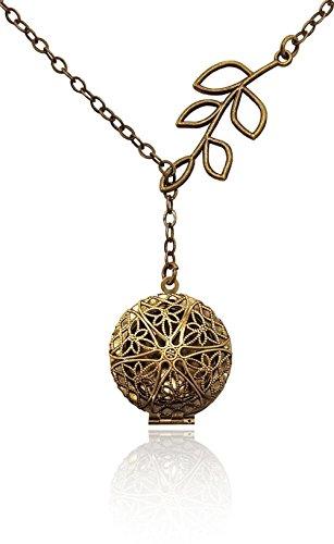 Aromatherapy-Necklace-Essential-Oil-Diffuser-Locket-Pendant-Jewelry-Bronze-tone-Brass-tone-Filigree-Unique-Tree-Branch-Drop-Lariat-Y-Style-wreusable-felt-pads