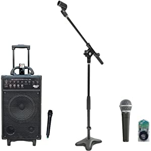 Pyle Speaker, Mic, Cable and Stand Package - PWMA860I 500W VHF Wireless Portable PA Speaker System /Echo W/Ipod Dock - PDMIC58 Professional Moving Coil Dynamic Handheld Microphone - PMKS7 Compact Base Microphone Stand - PPFMXLR15 15ft. XLR Male to XLR Female Microphone Cable
