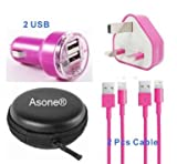 Asone Rose 4-in-1 Earphone/cable Hard Case/Bag + Wall Charger + Car Charger+ 1M Length USB Sync Data / Charging Cable for iPhone 5 / 5C / 5S iPad Mini iPod Touch 5th Gen