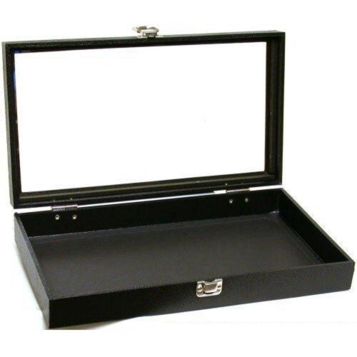FindingKing Black Jewelry Travel Showcase Display Glass Lid Case