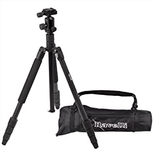 Ravelli Professional 65-inch Carbon Fiber 3 Axis Ball Head Camera Video Photo Tripod with Quick Release Plate and Carry Bag