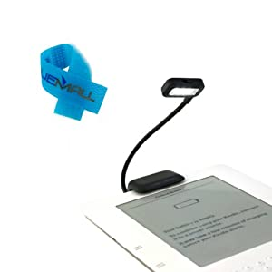 BIRUGEAR Black Dual LED Clip-On Reading Light and Cable Tie for Amazon Kindle, Nook, eBook Readers, Tablets, PDAs, Cell Phones from Bluemall