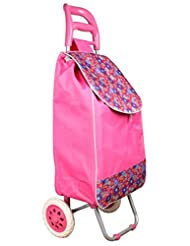 Vegetable & Fruit Folding Shopping Trolley Bag With Wheels (Pink)