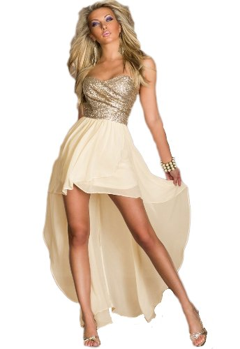 Made2envy Charming Chiffon Sequined Asymmetric Long Dress (L, Gold) C6153-1L