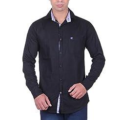Cotblend Men's Casual Shirt (CB-OXFD-Black-M, Black, M)