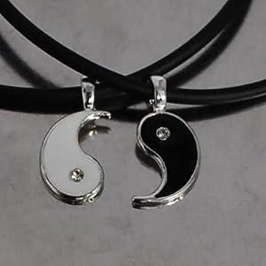 friendship split yin yang pewter pendant