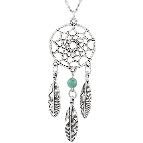 MJartoria Women's Dangling Feather Turquoise Charms Filigree Tribal Dreamcatcher Pendant Chain Necklace
