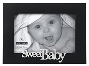 Malden Expressions Black Wood Picture Frame, Sweet Baby, 4 by 6-Inch