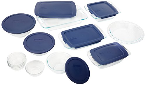 Pyrex Easy Grab 19-Piece Glass Bakeware Set with Blue Lids (Cookware Glass Set compare prices)