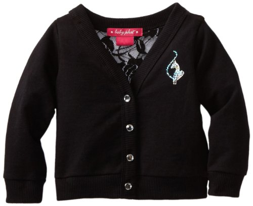 Baby Phat - Kids Baby-Girls Infant Cardigan With Lace Back, Black, 18 back-781535