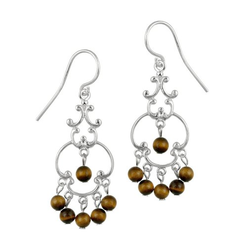 Sterling Silver Fancy Linear Drop French Wire Earrings with 6 Round Tiger Eye Drops