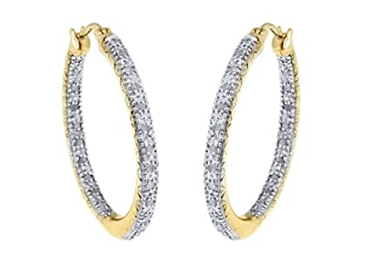 Carissima 9ct Yellow Gold 0.25ct Diamond Creole Earrings