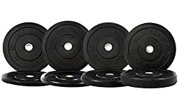 190 Lbs Black Bumper Rubber Plates Set (Pair of 10 / 15 / 25 / 45 Lbs) - Weight Plates for Strength Training, Olympic Weight Lifting, Powerlifting