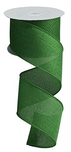 Emerald Green Cross Royal Burlap Wired Edge Ribbon (2.5