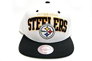 Mitchell & Ness Pittsburgh Steelers NFL White Arch Script Snapback Cap Hat... by Mitchell & Ness