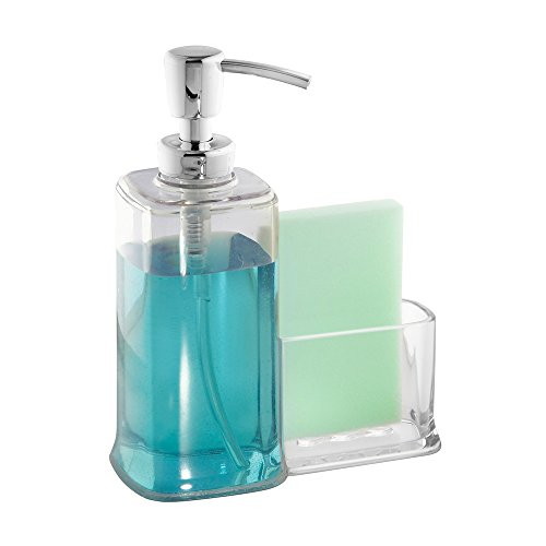 Interdesign Vella Soap Dispenser Pump And Sponge Caddy Organizer For Kitchen Countertops Clear
