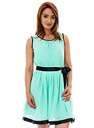 Aruba Blue Color Dress With Beautifull Gathering And Black Satin Belt For Perfect Fit