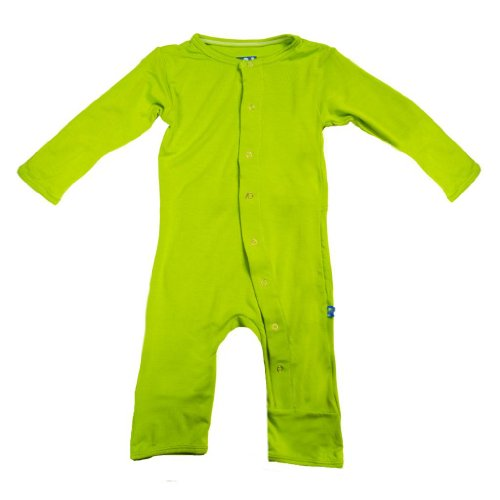 Kickee Pants Neutral Baby Onepiece Coverall Romper, Meadow Green, 3-6 Months front-143558