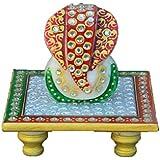 ECraftIndia White Crystal Lord Ganesha On Red & Green Marble Chowki