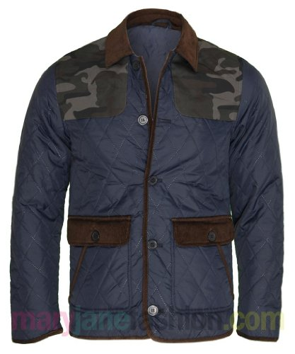 Mens Diamond Quilted Corduroy Piping Collar Camouflage Jacket Coat Navy S