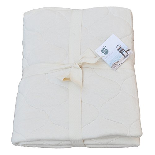 glo Organic USA Made Double Quilted Cotton Mattress Pad, Crib, Natural