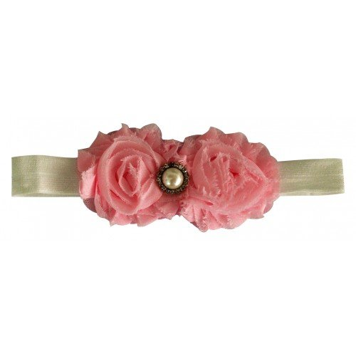 PinkXenia Light Pink Shabby Fower Diamond Newborn babyGirl Soft HeadBand