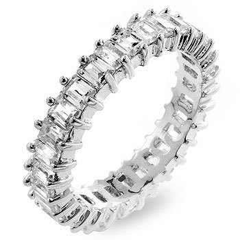 White Gold Rhodium Bonded Handset Baguette CZ Eternity Ring in Silvertone, 5