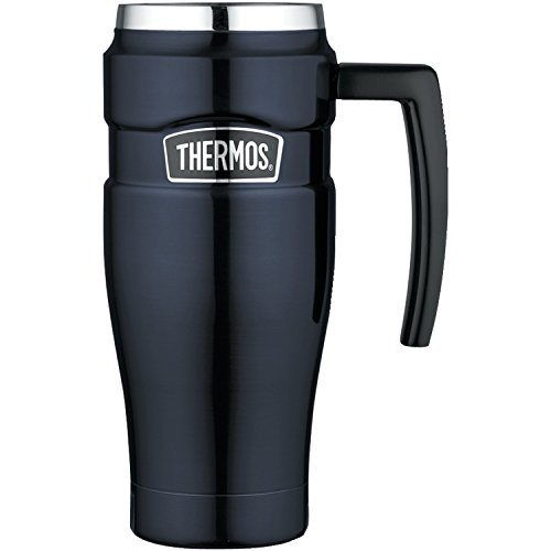 Thermos Stainless King 16 Ounce Travel Mug with Handle, Midnight Blue (Thermos Coffee Mugs compare prices)