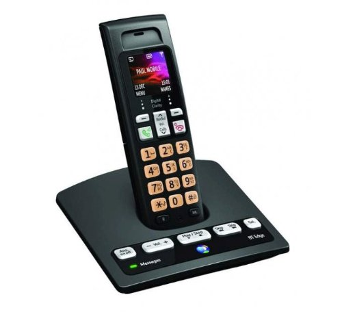 BT Edge 1500 Colour Screen Single DECT Cordless Handset with Telephone Answering Machine - Black picture