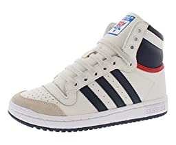 adidas Performance Top Ten Hi J Basketball Shoe (Big Kid), Core White/New Navy/Collegiate Red, 5.5 M US Big Kid