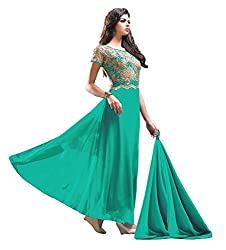 Jiya Presents Stitched Chiffon Lycra Floor Length Gown(Turquoise)