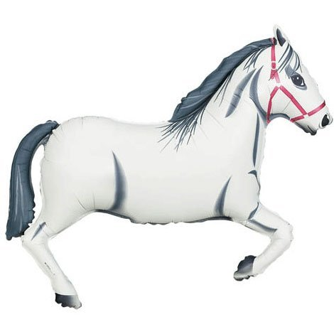 White Horse Foil Balloon (White, 1) by Anagram