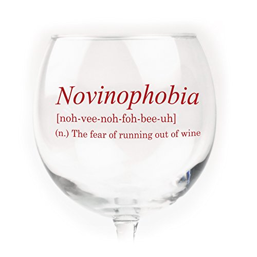 Funny Wine Glass - Novinophobia: Fear of Running Out of Wine (Decorate Wine Glasses compare prices)
