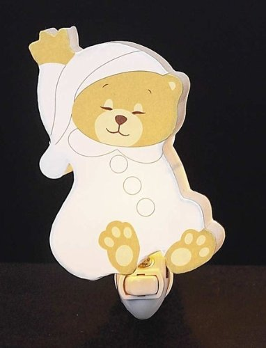 Children's Quality Designed White Sleeping Bear Room Night Light - 1