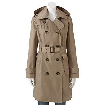 Towne by London Fog Hooded Double-Breasted Trench Coat