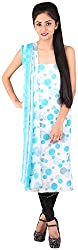 Bee Gee Boutique Women's Synthetic Unstitched Dress Materials (BG-7, Blue White)