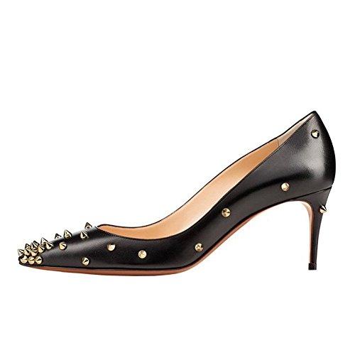 Arc-en-Ciel scarpe da donna tacco alto pompa oro picco-black-us13