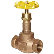 Apollo 121T Series Bronze Globe Valve, Class 125, Inline, Threaded Bonnet, Bronze Seat, NPT Female