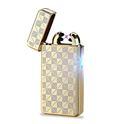 Danle USB Rechargeable Windproof Dual Electronic Arc Lighter Flameless Plasma Cigarette Lighter (Lattice Gold)