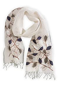 Asian Eye Fair Trade Linen Epoca Embroidered Scarf (White)
