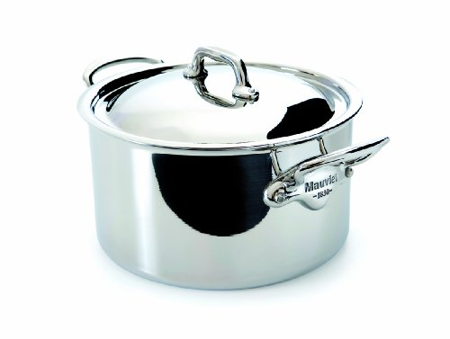 Mauviel M'Cook 5 Ply Stainless Steel 5231.21 3.6-Quart Stewpan With Lid, Cast Stainless Steel Handle