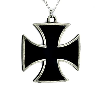 Black Iron Cross Necklace Punk Rock Metal Skull Baron from Dysfunctional Doll