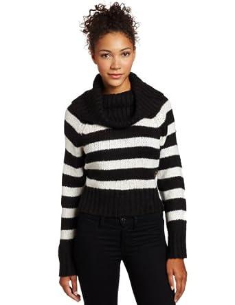 Southpole Juniors Cowl Neck Dolman Sleeve Striped Long Sleeve Sweater, Black, XX-Large